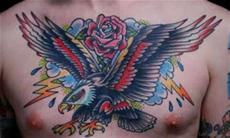 eagle tattoo with roses 40 wonderful eagle tattoos design for chest