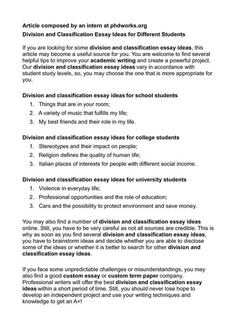 classification sle essay classification and division essay sle 28 images