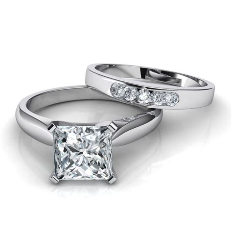 Set Wedding by Tapered Cathedral Princess Cut Solitaire Engagement Ring
