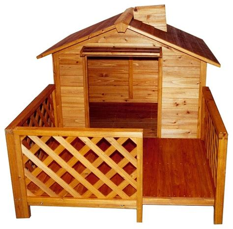 dog houses with porch cedar dog house with porch chimney traditional dog houses by shopladder