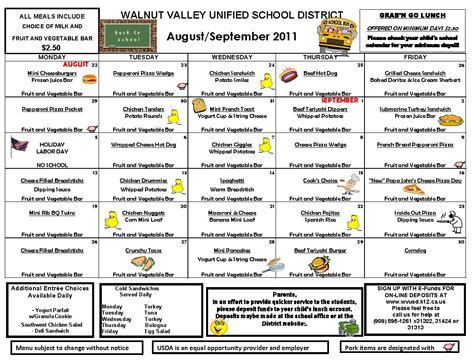 school lunch menu template school lunch menu calendar template