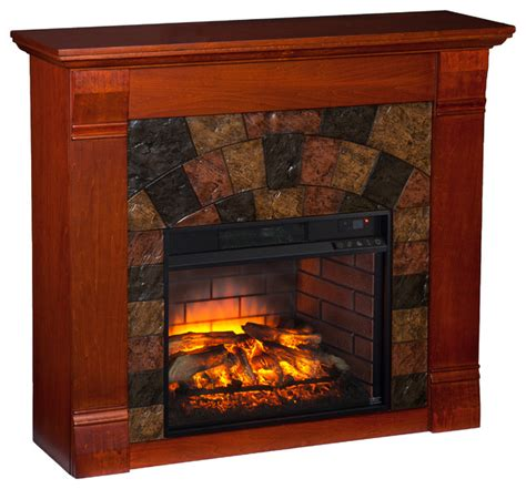 Electric Fireplace With Faux by Ridgelea Faux Infrared Electric Fireplace Mahogany