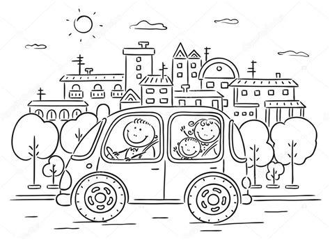 imagenes de la familia urbana para colorear happy family travelling by car black and white archivo