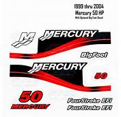 1999 2004 Mercury 50HP Red Decals Two &amp Four Stroke EFI BigFoot 11 Pc