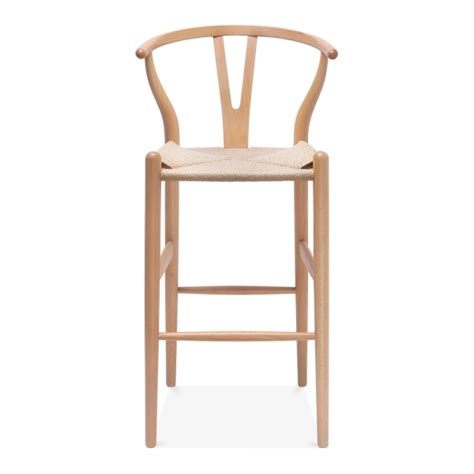 Wooden Stool With Backrest by Wishbone Wooden Bar Stool With Backrest 75cm Cult Uk