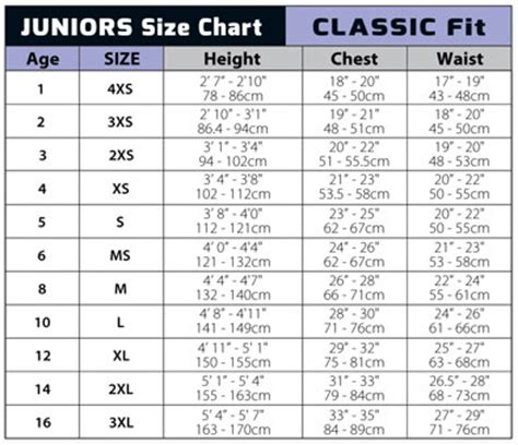 junior size chart