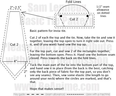 sewing pattern for stock tie mini tutorial quickie ties by taeliac on deviantart