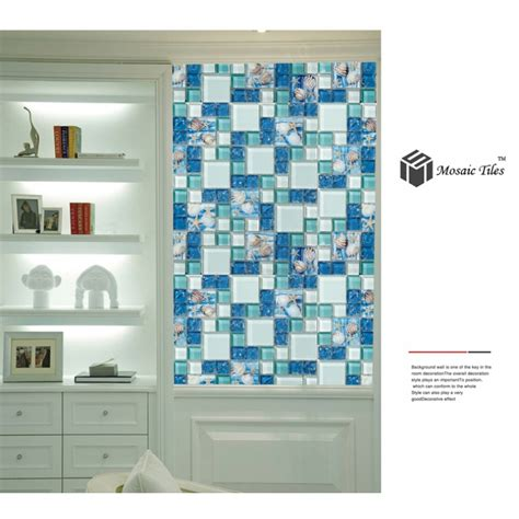 glassdecor mosaic bathroom tile designs warmojo com tst glass conch tiles beach style sea blue glass tile