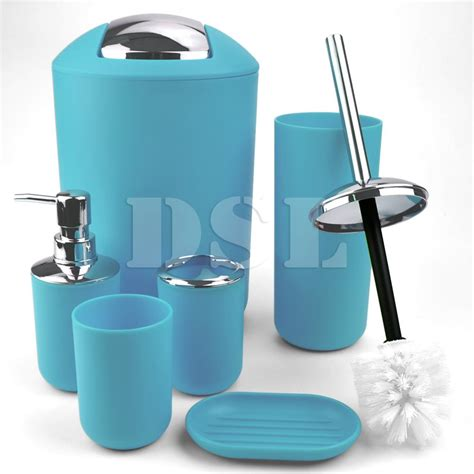 Trendy Bathroom Accessories New Stylish 6pcs Bathroom Accessories Set Tumbler Toilet Brush Lotion Soap Bin Ebay