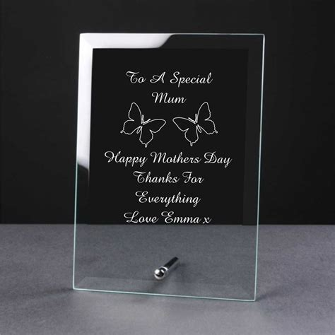 nan gifts for personalised engraved glass mothers day gift plaque