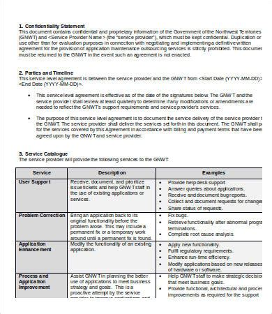 service level agreements templates service level agreement template 15 free word pdf