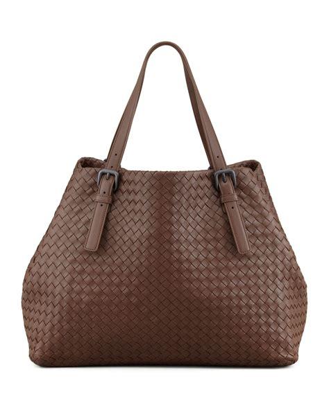 Bottega Veneta Woven Tote by Bottega Veneta Woven Leather Large Tote Bag Brown In Brown