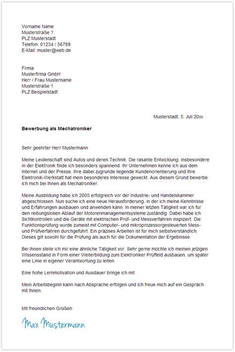 Bewerbungsschreiben Nach Ausbildung Kfz Mechatroniker bewerbungsschreiben muster 蝙ubat 2015