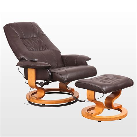 real leather swivel recliner chair new real leather swivel recliner chair w foot stool