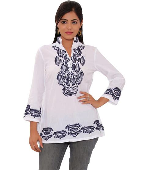 White V Neck Embroidered Top 3 buy rangeen white cotton embroidered v neck top at
