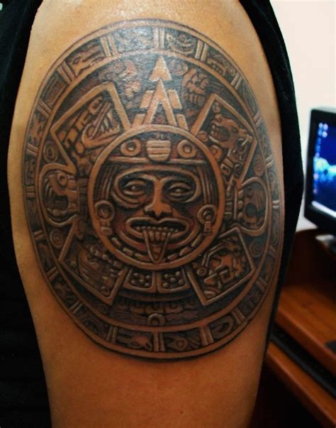 aztec shoulder tattoo 25 best aztec tattoos designs aztec calendar aztec and