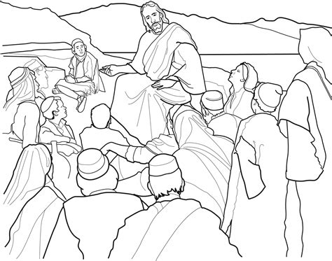 coloring page of jesus teaching sermon on the mount coloring page