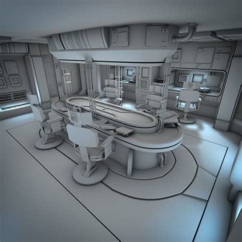 spacecraft interior hd 2 3d model obj fbx lwo lw lws blend
