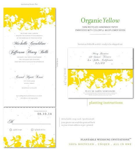 Wedding Invitations Yellow Paper by Unique Wedding Invitations On Seeded Paper Organic Yellow