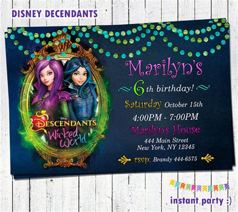 disney world thank you card templates disney descendants birthday invitations and