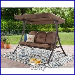 3 seat glider swing patio canopy swing brown 3 seat hammock porch padded