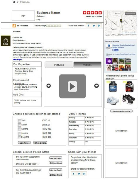 wireframe fatbit gym membership portal custom designed and developed by fatbit