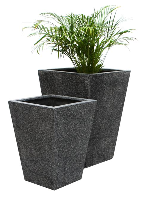 Terrazzo Planters by Black Poly Terrazzo Flared Square Planter Set Of 2