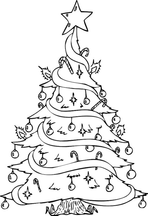 big coloring pages for christmas tree coloring pages