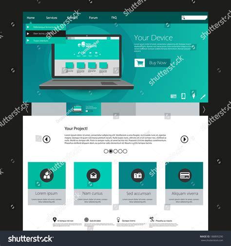Modern Elegant Flat Minimalist Website Template Stock Vector 188895290 Shutterstock Minimalist Website Template