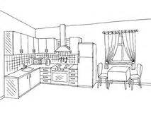Black And White Kitchen Cartoon Style Background  Illustration Stock sketch template
