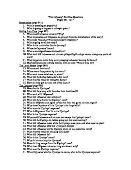 The Odyssey Worksheet Answers by The Odyssey Part I Reading Questions With Answers By