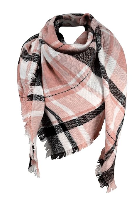 Plaid Fringe Scarf warm plaid woven oversized fringe scarf blanket shawl wrap