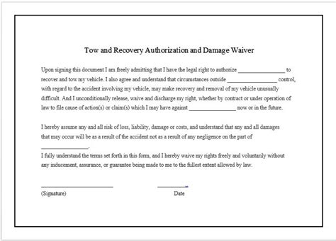 damage waiver template damage waiver tow company marketing