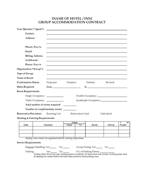 hotel group accommodation contract legal forms and