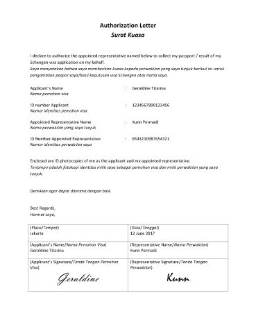 format surat kuasa ambil paspor mengurus visa schengen di kedubes belanda melalui vfs