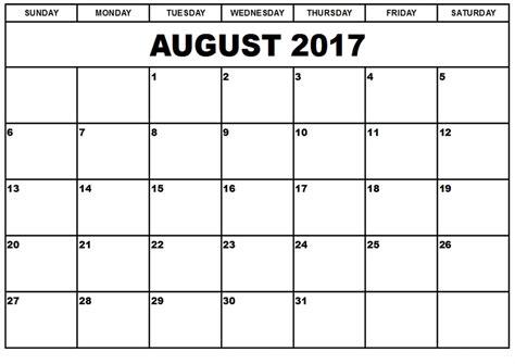 Printable Calendar August | august 2017 printable calendar august 2017 blank