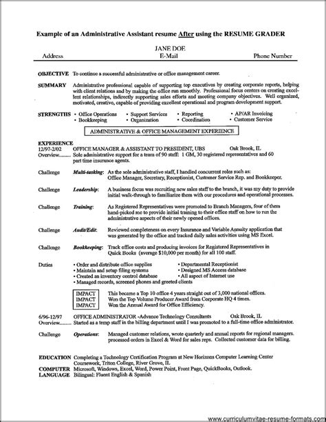 resume format for office office assistant resume sles free sles exles