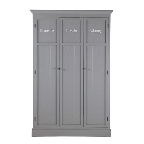 gray wardrobe wooden wardrobe in grey w 125cm newport maisons du monde