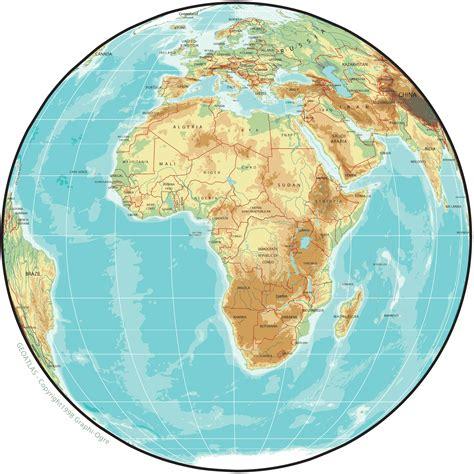 africa physical map globe mapsofnet