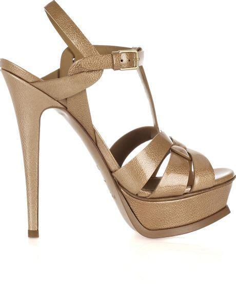 Dijamin Laurent Tribute In Taupe Patent Leather laurent tribute patent leather sandals in beige lyst