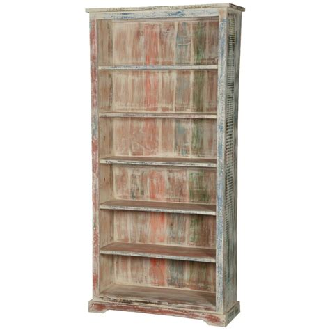 white washed reclaimed wood 6 shelf 78 5 quot bookcase open