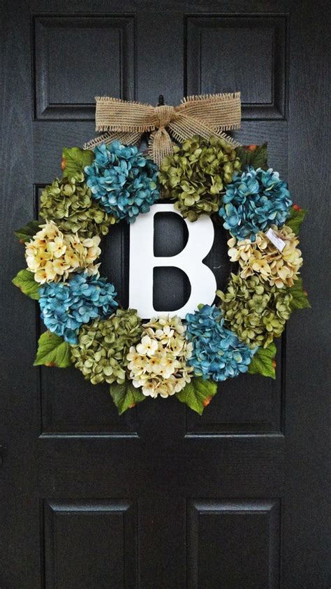 large full customizeable hydrangea door wreath for