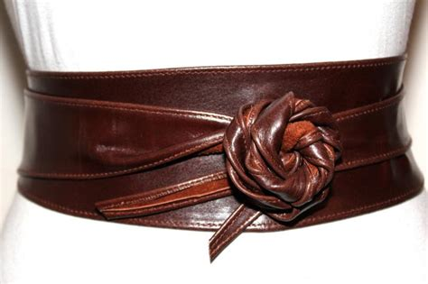 brown obi leather belt size s to m by ilovebelts on