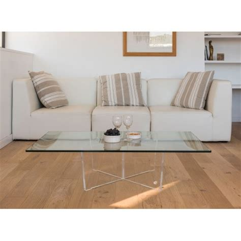 table basse transparente cristal rectangle