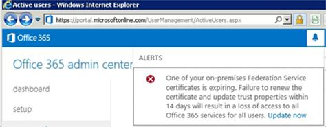 Office 365 Portal Problems Certificate Renewal For Office 365 And Azure Ad Users