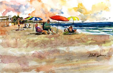 watercolor tutorial beach summer lovin in a watercolor beach scene of del mar