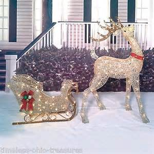 2 piece lighted reindeer sleigh set buck deer outdoor lit