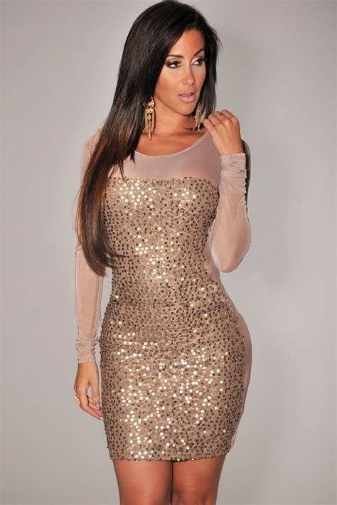 Plus Size Gold All Over Sequined Sheer Long Sleeves