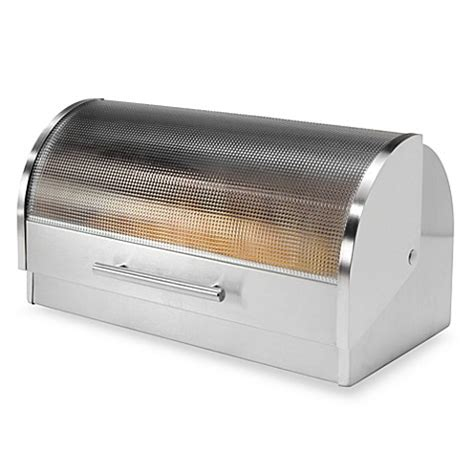 bed bath and beyond bread box oggi stainless steel glass roll top bread box bed bath beyond