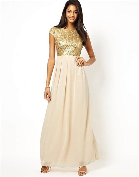 Asos Bring Us Another Style Gold Sequin Dress by At Asos Maxi Dress With Sequin Bodice